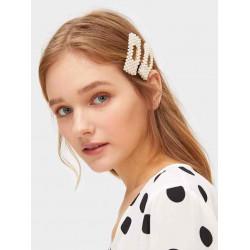 Faux pearl decorated hair clip 2 pcs