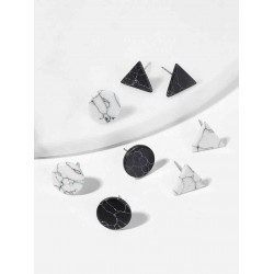 Elegant geometric earring, marbled pattern, 4 pairs