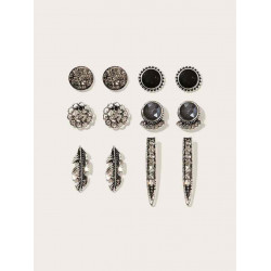 Earring set of flowered rhinestone and feathers, 6 pairs