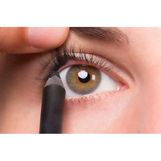 A charcoal black eyeliner that does not fade away, is water repellent