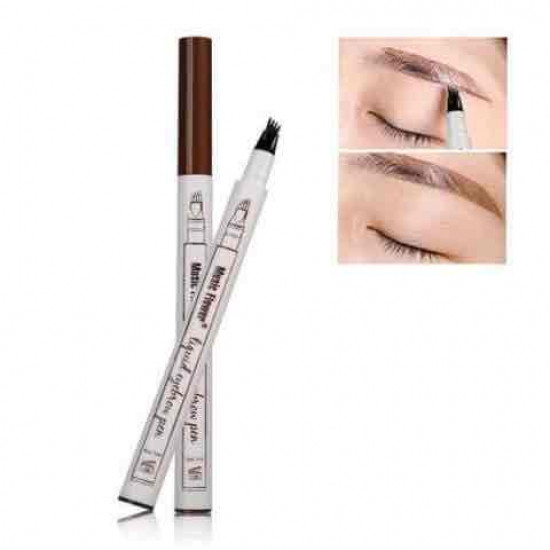 Eyebrow pencil with three brushes for drawing natural hair and filling the spaces, brown