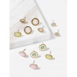 Cuneiform earrings, oval and oval gems
